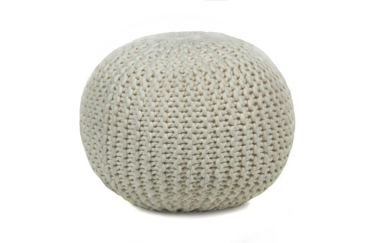 Hand-knitted Contemporary Wool Pouf, Beige