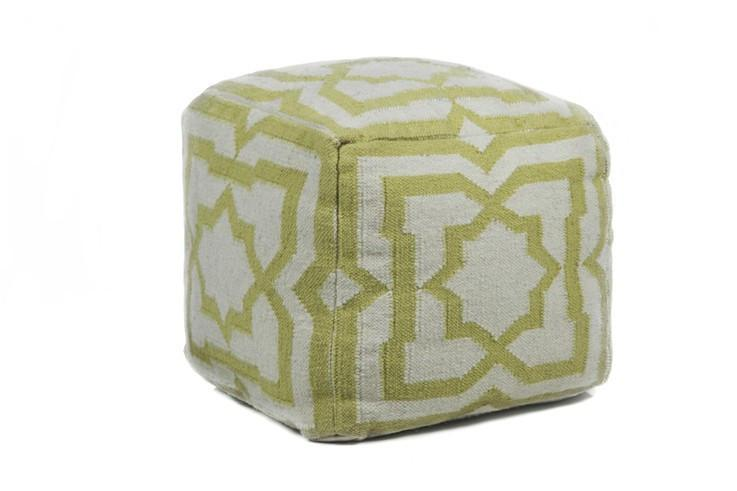 Hand-knitted Contemporary Wool Pouf, Yellow
