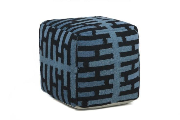 Hand-knitted Contemporary Wool Pouf, Blue