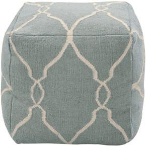 Fallon Pouf in Teal & Cream by Jill Rosenwald