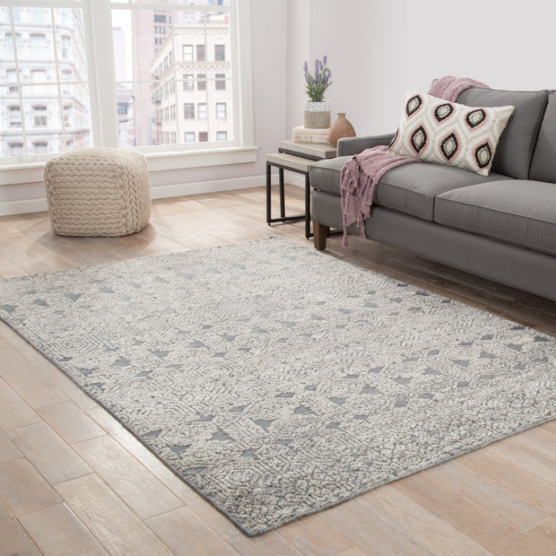 Abelle Hand-Knotted Medallion Gray & White Area Rug