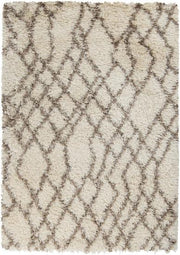 Rhapsody Collection Ultra Plush Area Rug in Ivory and Raw Umber