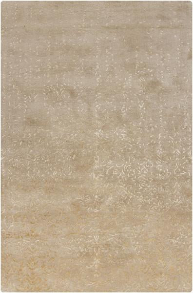 Rupec Collection Wool and Viscose Area Rug in Beige and Cream