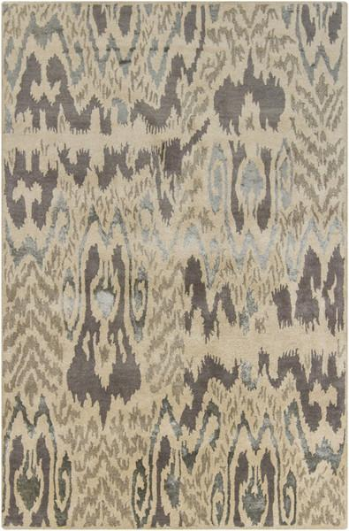 Rupec Collection Wool and Viscose Area Rug in Charcoal, Beige, and Grey