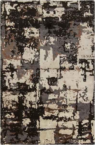 Rupec Collection Wool and Viscose Area Rug in Grey, Cream, and Copper