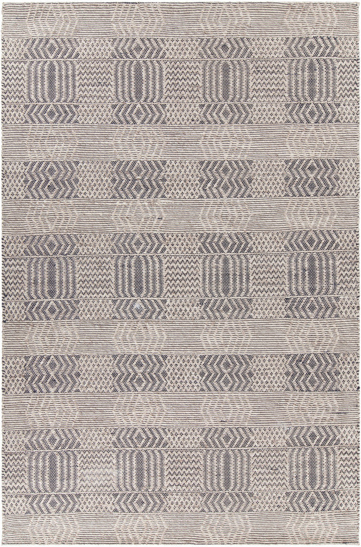 Salona Collection Hand-Woven Area Rug in Black & Natural