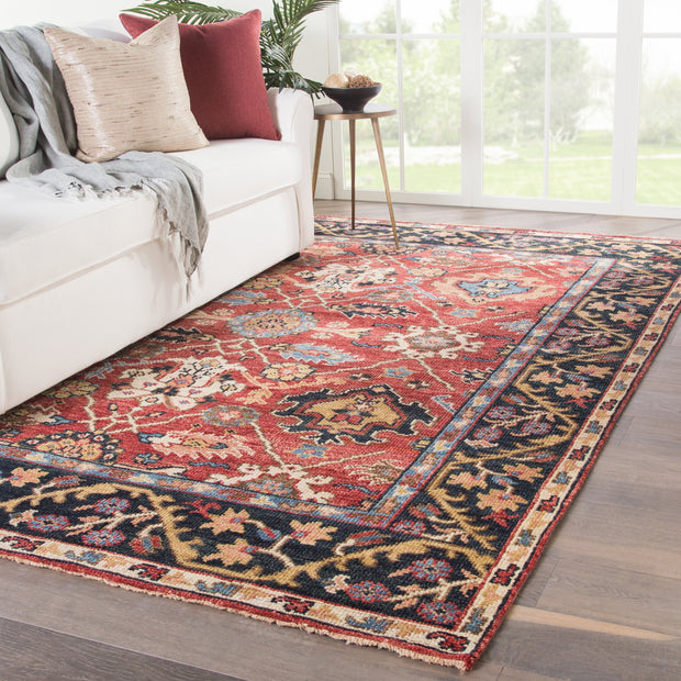 Aika Hand-Knotted Medallion Red & Multicolor Area Rug