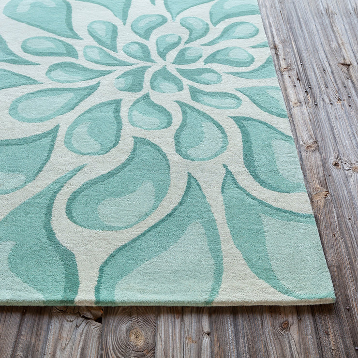 Stella Collection Hand-Tufted Area Rug in Beige & Light Aqua