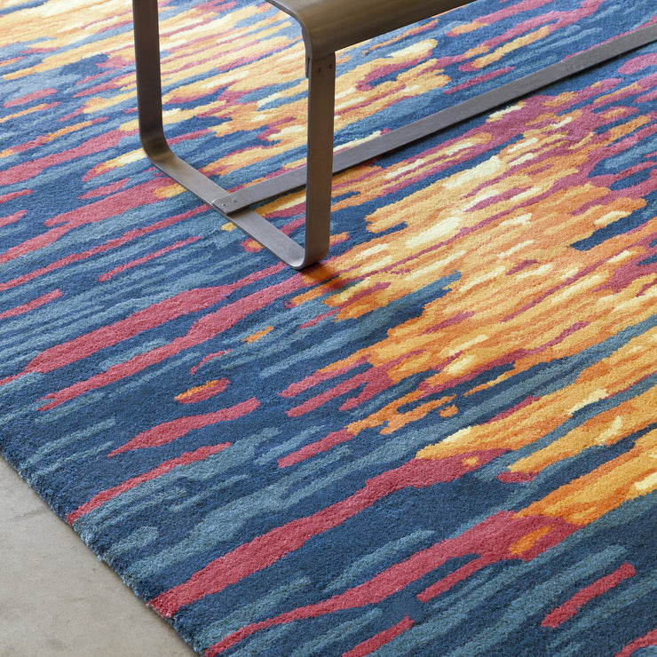 Stella Collection Hand-Tufted Area Rug in Blue, Red, & Orange