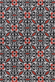 Stella Collection Hand-Tufted Area Rug in Grey, Red, & Black