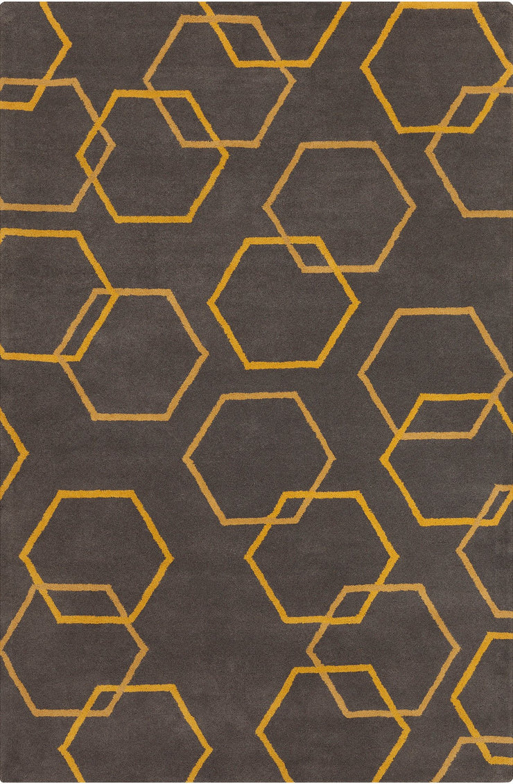 Stella Collection Hand-Tufted Area Rug in Charcoal & Yellow