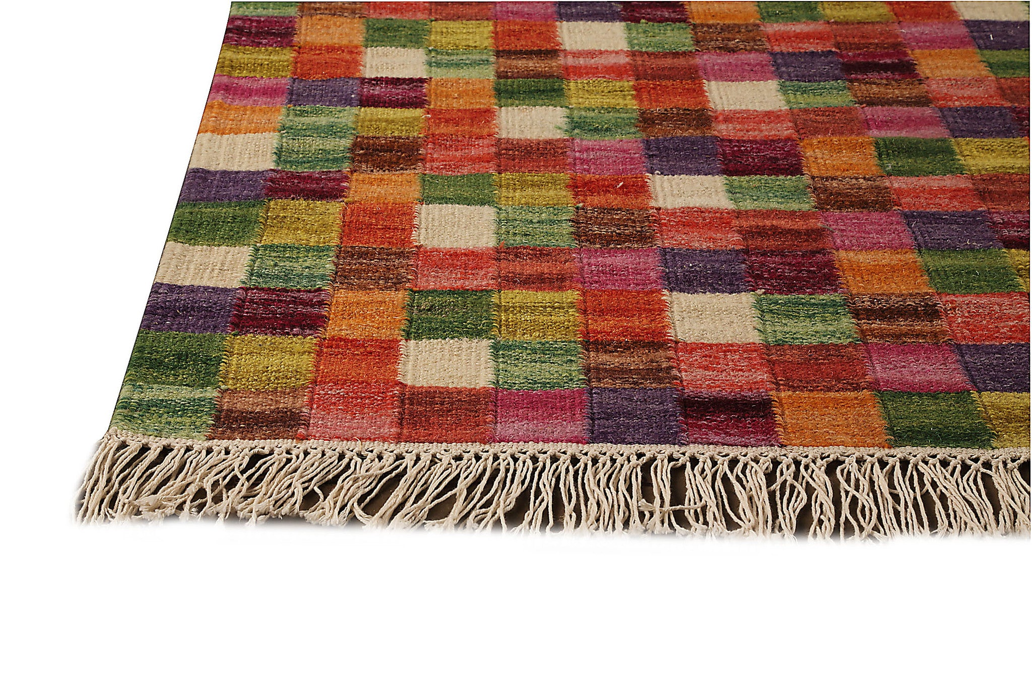 Small Box Collection Hand Woven Wool Area Rug in Multi design by