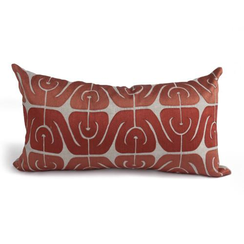 Inca Pillow in Natural and Coral design by Bliss Studio