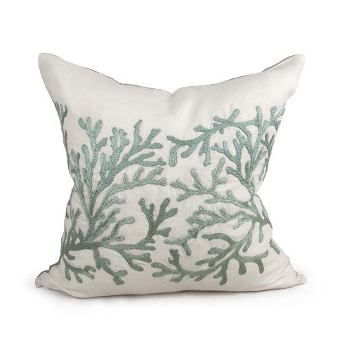 Coral Pillow in Ivory & Ocean Blue design by Bliss Studio