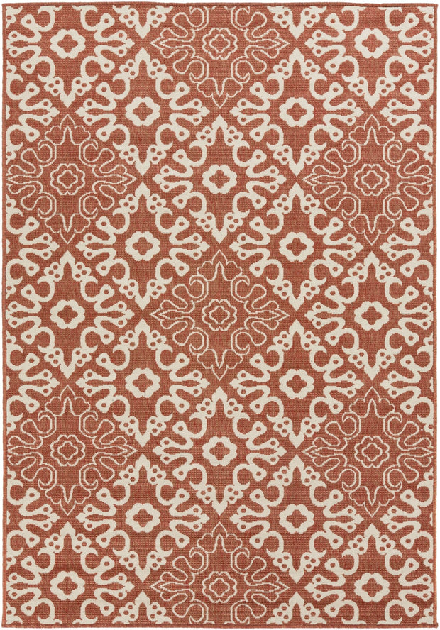 Alfresco Outdoor Rug in Rust & Cream design by Surya