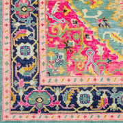 Antique Rug in Teal & Bright Pink