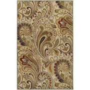 Aurora Collection New Zealand Wool Area Rug in Desert Sand, Clover, and Golden Brown
