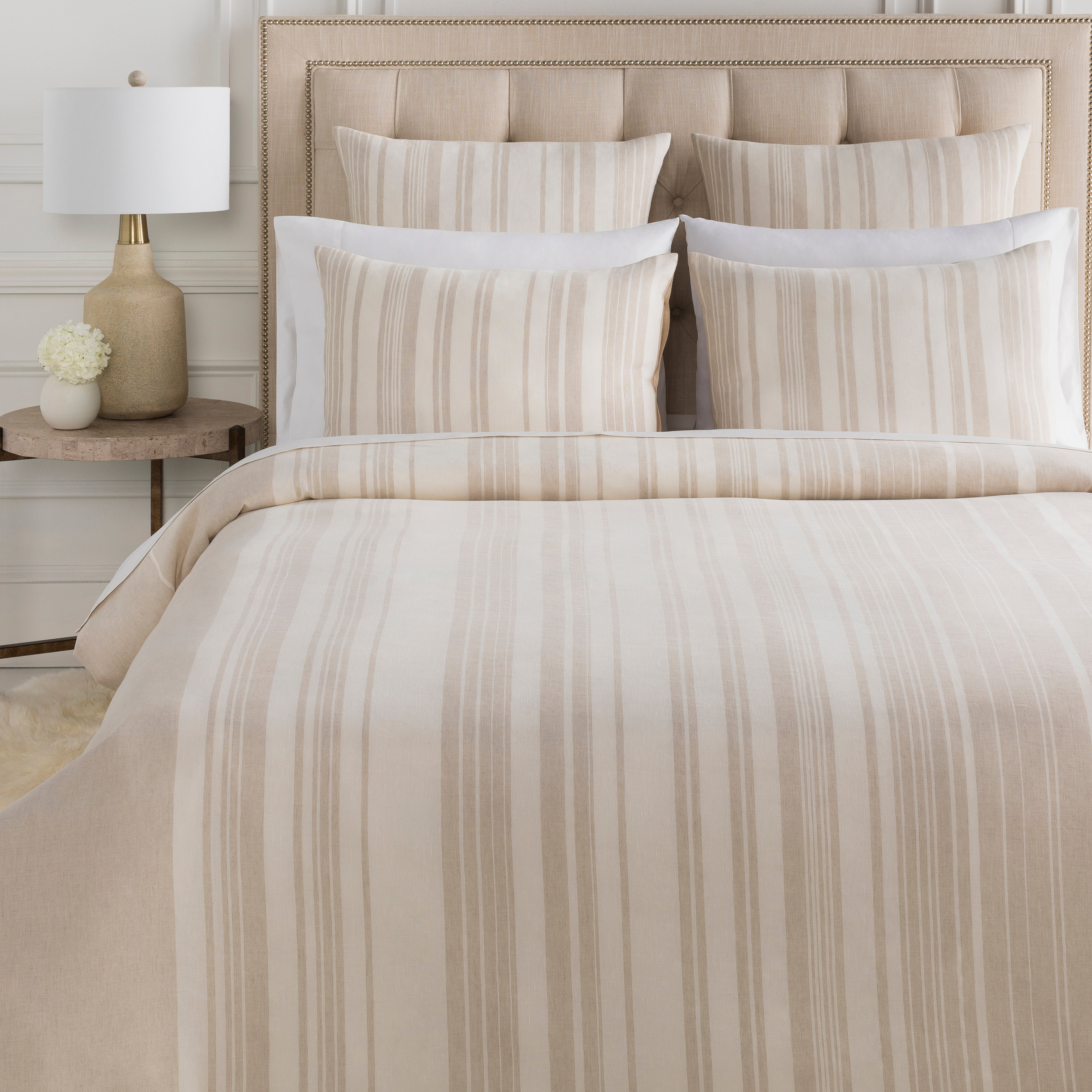 Baris Bedding in Taupe & Ivory