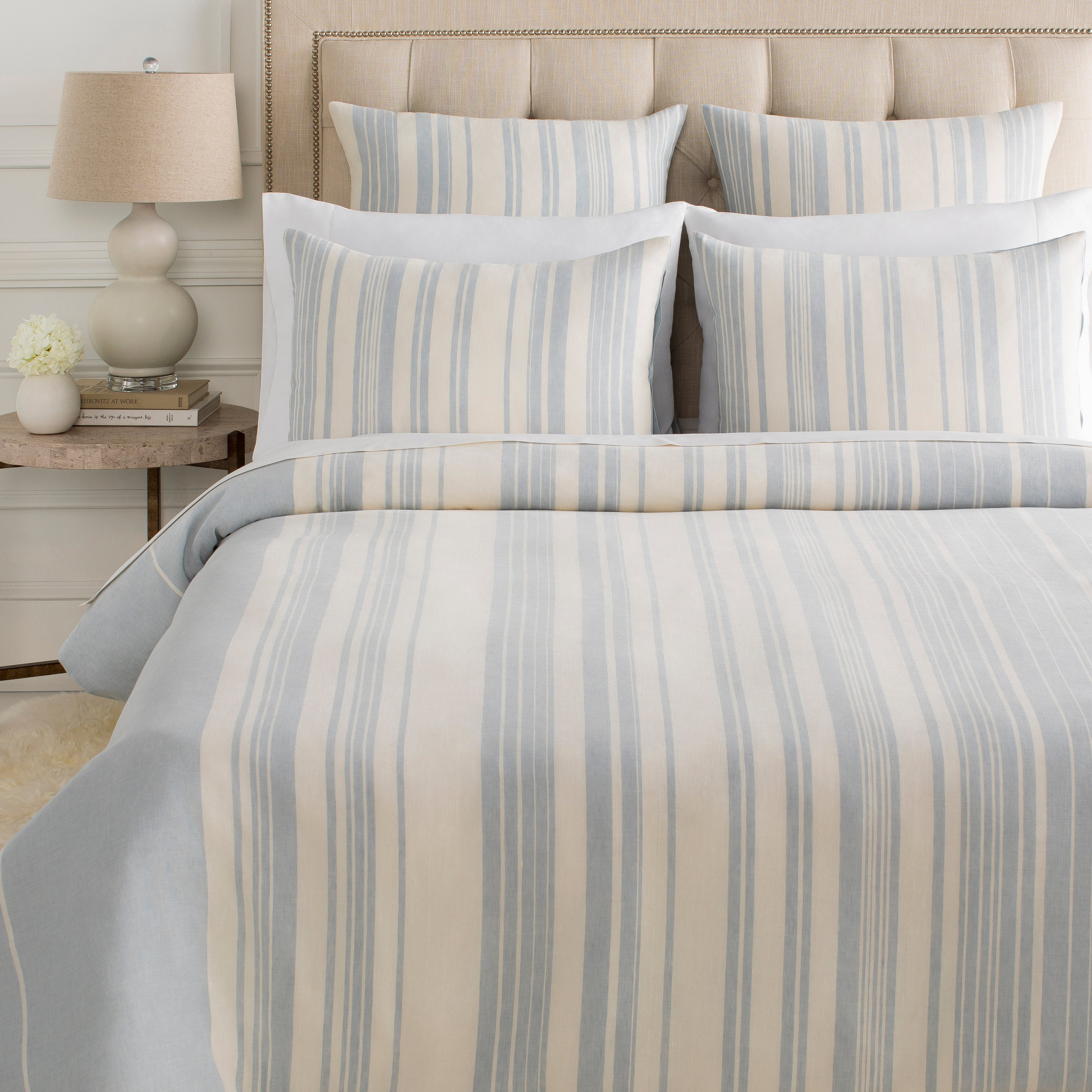 Baris Bedding in Pale Blue & Ivory