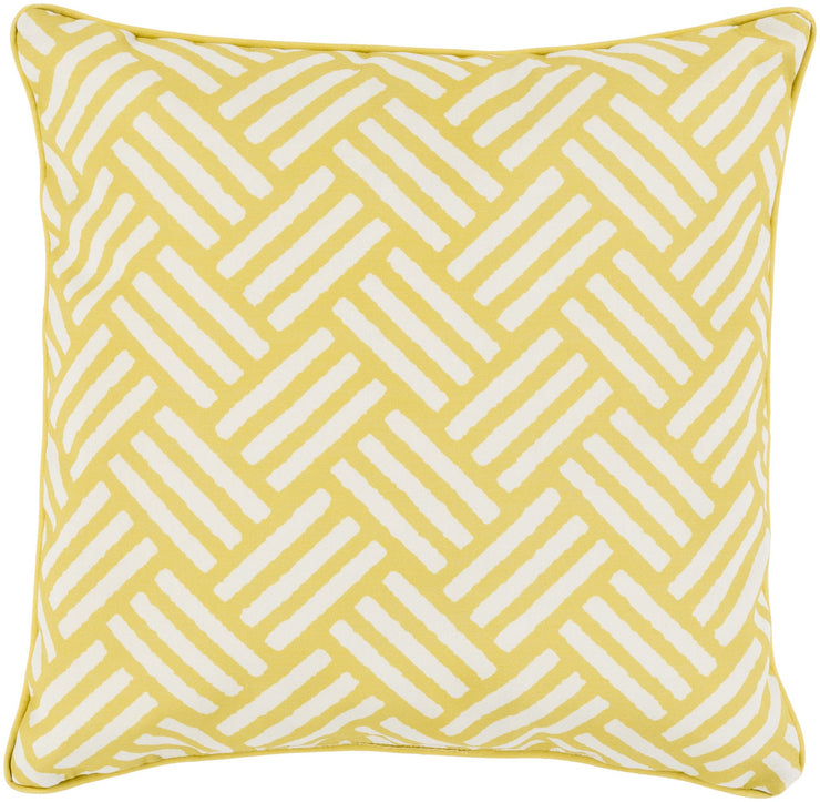 "Basketweave 16"" Outdoor Pillow in Gold & Ivory"