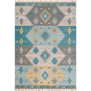 Adia Rug in Aqua & Wheat