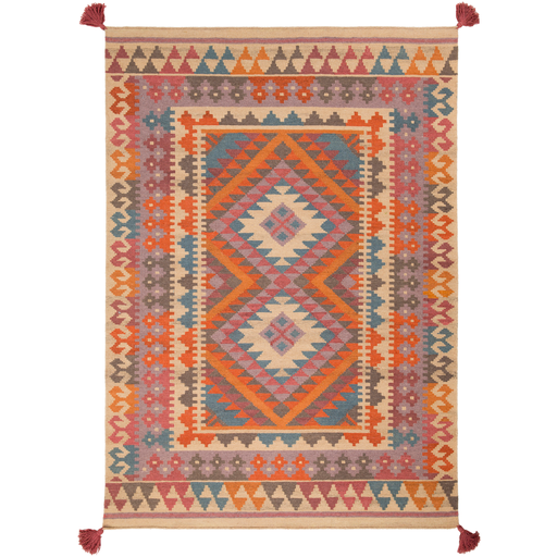 Adia Rug in Burnt Orange & Wheat