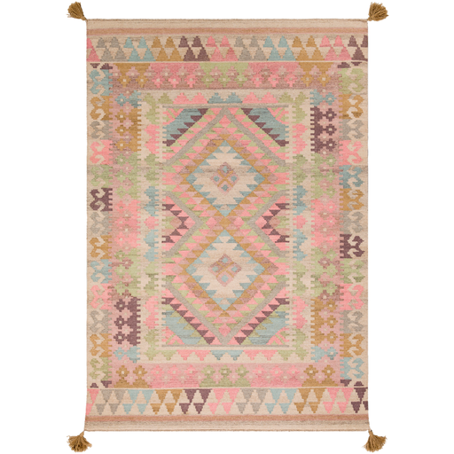 Adia Rug in Rose & Khaki