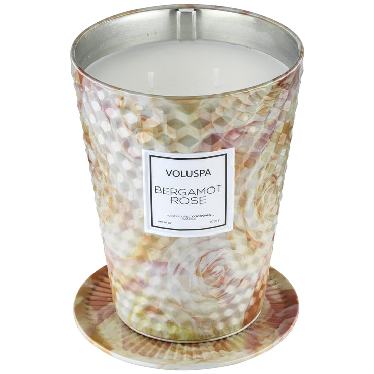 2 Wick Tin Table Candle in Bergamot Rose design by Voluspa
