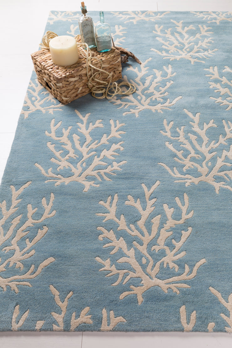 Escape New Zealand Wool Area Rug in Powder Blue and White design by Somerset Bay