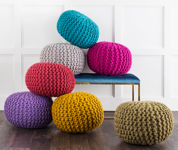 Fargo Wool pouf in Violet color