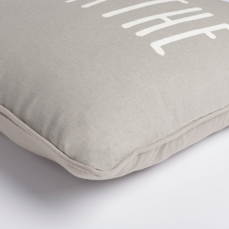 "Glyph 18"" x 18"" Cotton Pillow in Medium Gray & Ivory Hue"