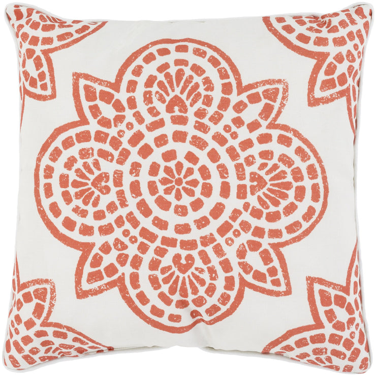 "Hemma 16"" Outdoor Pillow in Rust & Ivory"