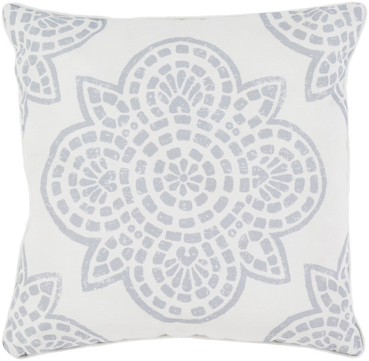"Hemma 16"" Outdoor Pillow in Light Grey & Ivory"