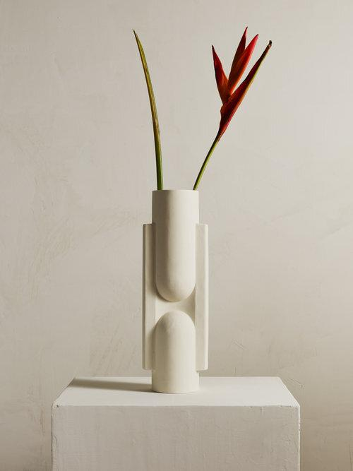 KALA Slender Ceramic Vase in Snow