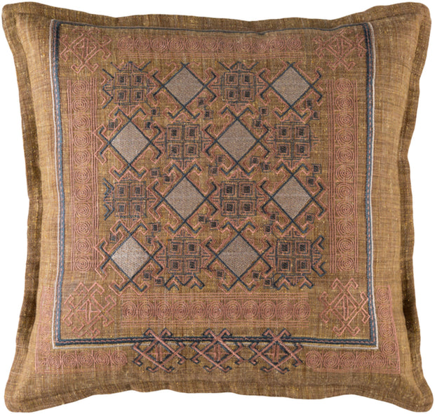 Litavka Woven Pillow in Camel & Pale Pink