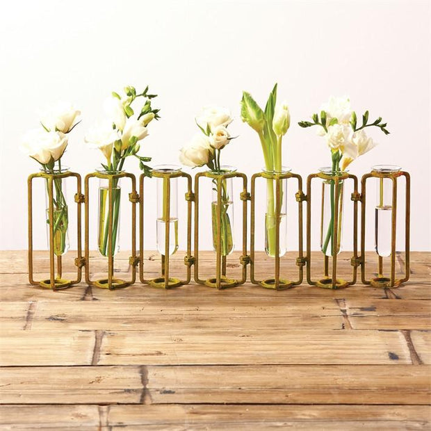 Set of 7 Small Gold Hinged Flower Vases