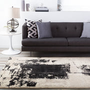Nuage Collection Area Rug in Coal Black, Feather Grey, and Oatmeal design by Surya