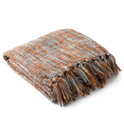 Tabitha Throw Blankets in Burnt Orange and Pale Blue Color