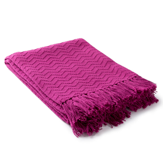 Thelma Throw Blankets in Bright Pink Color