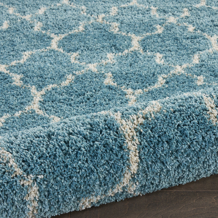 Amore Collection Shag Area Rug in Aqua by Nourison