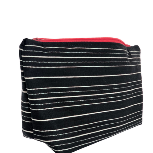 Stripes & Red Zipper Bag - The Crafty Artisans