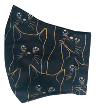 Load image into Gallery viewer, Adult Face Cover | Black & Gold Cat - The Crafty Artisans