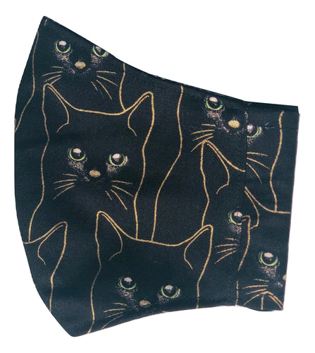 Adult Face Mask | Black & Gold Cat - The Crafty Artisans