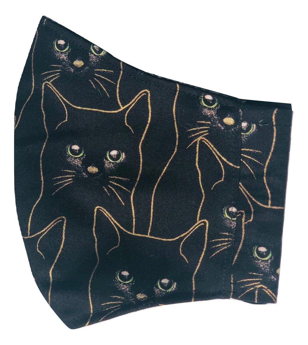 Adult Face Cover | Black & Gold Cat - The Crafty Artisans