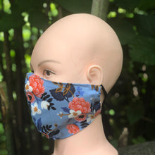 Load image into Gallery viewer, Adult Face Cover | Blue Floral - The Crafty Artisans