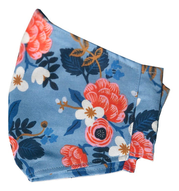 Adult Face Cover | Blue Floral - The Crafty Artisans
