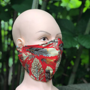 Adult Face Cover | Red Feathers - The Crafty Artisans