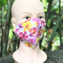 Load image into Gallery viewer, Adult Face Cover | Pink & Yellow Flowers - The Crafty Artisans