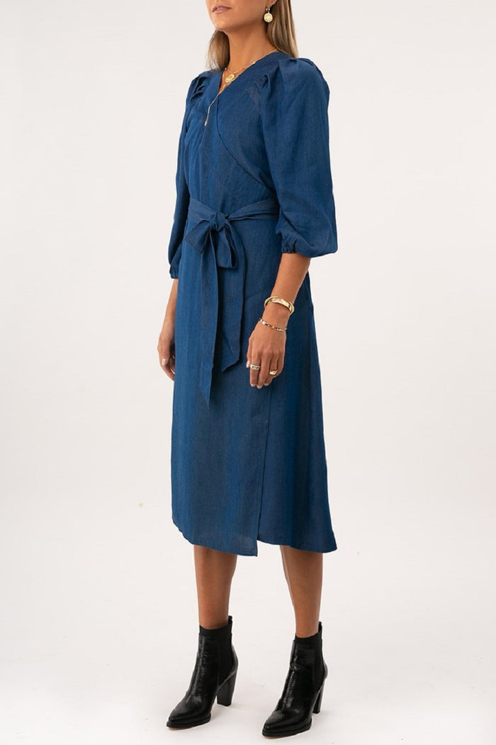 Clara Denim Midi Wrap Dress