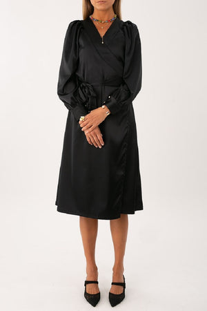 Clara Satin Wrap Dress - [www.unorthodox-boutique.com]
